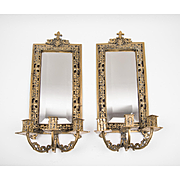 Pair of Late 19th C. Gilt Brass French Mirrored Wall Sconces