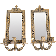 SALE Pair of Late 19th C. Gilt Brass French Mirrored Wall Sconces
