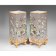 Pair of Paris Porcelain Platinum Ground Hand Painted Vases