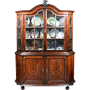 SALE 18th C. Dutch Marquetry Bookcase Cabinet With Glazed Doors