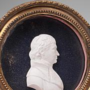 SALE Early 19th C. Paste Portrait Medallion of Gentleman Framed Under Glass