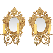 SALE Pair of Vintage Brass Mirrored Sconces With Two Lights