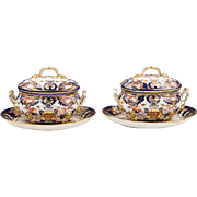Pair of Early 19th C. Derby Imari Sauce Tureens With Stands And Covers