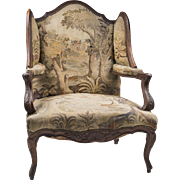 SALE Early 19th C. French Walnut Louis XV Fauteuil en Confessionnal Or Armchair