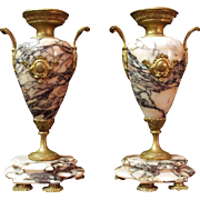 SALE Pr. of Napoleon III Bronze Mounted Pink Marble Garniture Urns