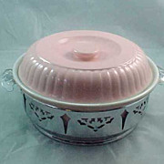 REDUCED Hall China Forman Family Covered Casserole Pink Chrome