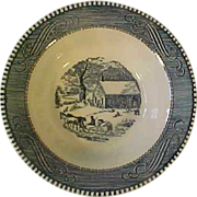 SOLD Royal Currier + Ives Blue Coupe Cereal Bowl Schoolhouse in Winter Many Available