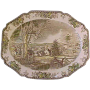 "Johnson Brothers England The Friendly Village Large Turkey Platter 20"" MT"