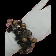SALE LAST CHANCE!  Cha Cha-style Expansion Bracelet: Clear Lucite, Black Plastic, Filigree Bal