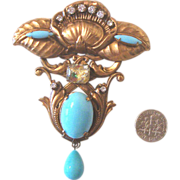 SALE Glorious Revival-Style Brooch: Robin's-Egg Blue & Art Glass: Art Nouveau-Inspired