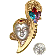 SALE LARGE Resin & Rhinestone Lady Face Brooch: Mysterious Deco-Like Vamp!