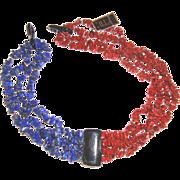 SALE Hobé Glass Chips Lapis- & Blood-Coral-Colored Necklace: Mint w/Tag