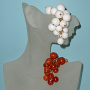 SALE Glass-Like Grapes Brooch Duo: Western Germany: Old/New Stock