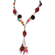 SALE Gorgeous Glass-Beaded Tassel Necklace