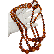 """SALE Tiger-Stripe 3-Strand Necklace: Glass-Like:  Made in Hong Kong: """"Mad Men""""-Worth"""