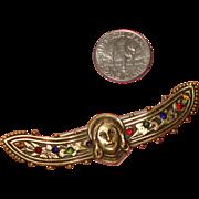 Art Nouveau-Style Face Brooch w/Wings:  Jesus or Angel Figural
