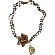 SALE Uniquely Delightful Daffodil &  Glass Leaf Necklace:  OOAK