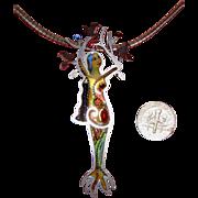 SALE Beautiful Lady at Tree w/Birds Brooch - Pendant Necklace: Israel: Handmade