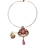 SALE J.M. CREATIONS PARIS Pink Art-Glass Pendant Necklace or Brooch: Baroque Style: From Franc