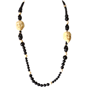 SALE Faux-Ivory Noh Face Necklace: Glass Beads