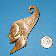 SALE M. JENT Lady Face Brooch: Wind-Tunnel Upswept Hairdo