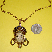 SALE Unsigned Selro - Selini Asian Princess Pendant Necklace:  Very Old Chain