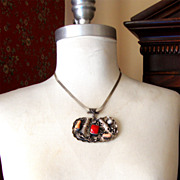 SALE Exotic Sterling Silver Pendant Necklace:  Made in Turkey:  OOAK