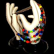 SALE Celebratory Boho Glass Bead Necklace:  New/Old Stock