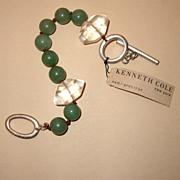 "SALE MWT: KENNETH COLE Jade-Colored & Clear-Glass Bracelet: ""Semi-Precious"" Tag:  Ne"