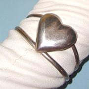 SALE Silvertone Heart Cuff Bracelet: Mexico: Probably Sterling