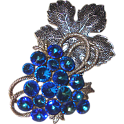 SALE Glorious Electric-Blue Rivoli Grapes Brooch: Huge!