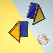 SALE Lapis-Blue & Topaz-Yellow Stained-Glass Earrings:  Prairie Style