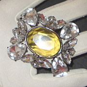Clear- & Golden-Topaz-Colored Glass Brooch: Glorious!