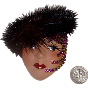 SALE Large Lady Face Brooch w/Real Fur Hat: Handmade