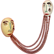 SALE Crying Lady-Face Masks Chatelaine Brooch: Unique!
