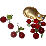 SALE Large Cat & Cherries Demi-Parure:  Brooch & Earrings