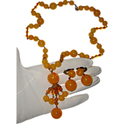 SALE Glass-Like Butterscotch-Yellow Tassel Necklace & Earrings: C. 1940s
