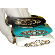 Square Lucite Bangle Bracelet Set: French-Look Filigree Styling