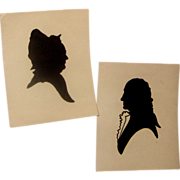 SALE LAST CHANCE!  Very Old George & Martha Washington Unframed Silhouettes
