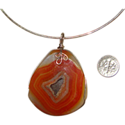 Chunky Orange Sardonyx Agate Pendant Necklace