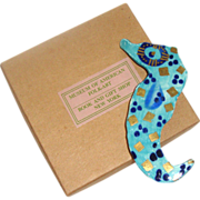 SALE Large Ceramic Seahorse Brooch: In Orig. Box: Museum of American Folk Art, NYC
