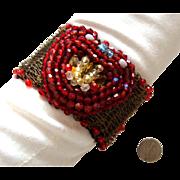 SALE Heart Centerpiece Bracelet: Beaded & Goldtone Mesh: By M. Katyanna