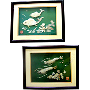 SALE Exquisite Asian Mother-of-Pearl Sea-Dweller Wall-Hanging Duo: Mint in Boxes