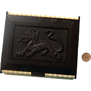 Asian-Style Dragon-Image Celluloid Box:  Black & Ivory-Colored: Mid-Century