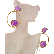 SALE Big Purple Glass-Quartz & Hoop Earrings: New/Old Stock