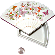 1980 Avon Porcelain Fan-Shaped Trinket Box: Butterflies: Asian - Oriental Style