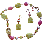 SALE Gorgeous Glass-Beads & Faux-Ivory Asian-Face Necklace & Earrings
