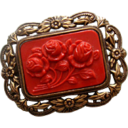 SALE NICE PRICE!  Faux-Coral Carved Roses Brooch