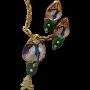 SALE Geisha-Under-Glass Necklace & Earrings:  Asian - Oriental Style