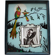 SALE Art Deco Reverse-Painted-Glass Picture Frame:  Bird & Nature Figural